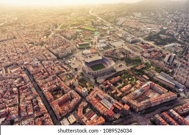 BARCELONA - APRIL, 2018 : Aerial helicopter view of Camp Nou FC Barcelona football Stadium in Barcelona. It is the most famous stadium in Catalonia.