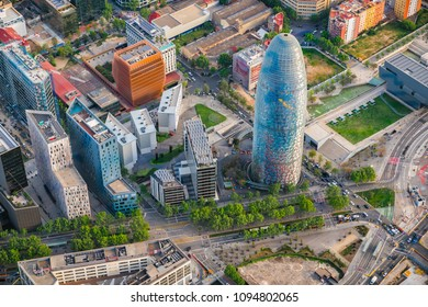 BARCELONA - APRIL, 2018 : Barcelona aerial view of Torre Agbar skyscraper, designed by Jean Nouvel. Building marks the gateway to the new technological district of the city, Spain.