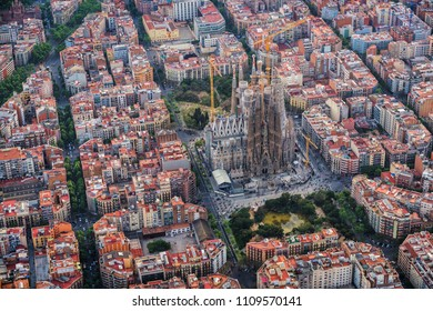 BARCELONA - APRIL, 2018 : Barcelona aerial view, Eixample residencial district and Sagrada familia, Spain