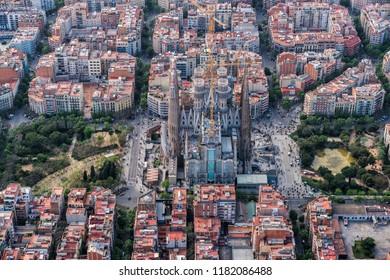 BARCELONA - APRIL, 2018 : Barcelona aerial view, Eixample residencial district and Sagrada Familia, Spain
