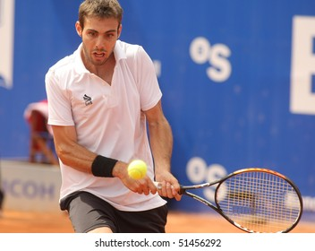BARCELONA - APRIL 21: Spanish Marcel Granollers in action during the second round match of the Barcelona tennis tournament Conde de Godo on April 21, 2010 in Barcelona.