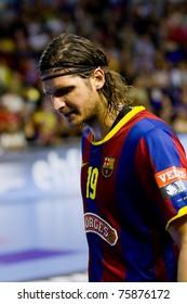 BARCELONA - APRIL 24: Laszlo Nagy (19) of Barcelona during the handball Champions League match between Barcelona and THW Kiel, final score 27 - 25 on April 24, 2011 in Barcelona, Spain.