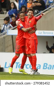 BARCELONA - APRIL, 25: Leo Messi and Neymar of FC Barcelona celebrating goal during a Spanish League match against RCD Espanyol at the Power8 stadium on April 25, 2015 in Barcelona, Spain