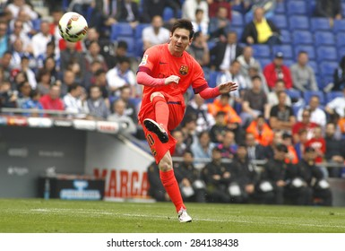 BARCELONA - APRIL, 25: Leo Messi of FC Barcelona during a Spanish League match against RCD Espanyol at the Power8 stadium on April 25 2015 in Barcelona Spain