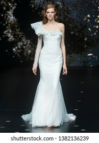 BARCELONA - APRIL 26: a model walks on the Pronovias bridal collection 2019 catwalk during the Valmont Barcelona Bridal Fashion Week runway on April 26, 2019 in Barcelona, Spain.