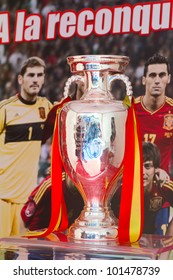 BARCELONA - APRIL 29: UEFA Euro Trophy exhibition during Barcelona tennis tournament Conde de Godo, on April 29, 2012, in Barcelona, Spain.