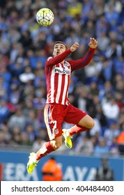 BARCELONA - APRIL, 9: Antoine Griezmann of Atletico Madrid during a Spanish League match against RCD Espanyol at the Power8 stadium on April 9, 2016 in Barcelona, Spain