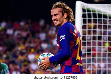 BARCELONA - AUG 25: Antoine Griezmann celebrates a goal at the La Liga match between FC Barcelona and Real Betis at the Camp Nou Stadium on August 25, 2019 in Barcelona, Spain.