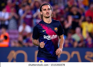 BARCELONA - AUG 25: Antoine Griezmann plays at the La Liga match between FC Barcelona and Real Betis at the Camp Nou Stadium on August 25, 2019 in Barcelona, Spain.