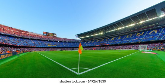 BARCELONA - AUG 25: Panoramic view of the Camp Nou Stadium at the La Liga match between FC Barcelona and Real Betis on August 25, 2019 in Barcelona, Spain.