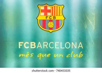 fcb logo images stock photos vectors shutterstock https www shutterstock com image photo barcelona august 11 barcelonas motto mes 740453335