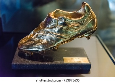 BARCELONA - AUGUST 11: European Golden Shoe trophy won by Lionel Messi, shown at the Camp Nou Experience Tour and Museum, Barcelona, Catalonia, Spain, on August 11, 2017
