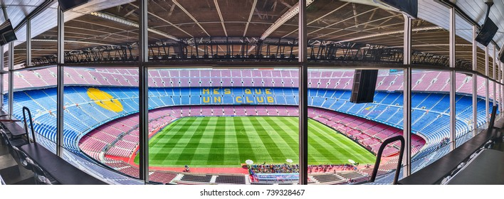 BARCELONA - AUGUST 11: Panoramic interior view of Camp Nou stadium, home of FC Barcelona, Catalonia, Spain, on August 11, 2017. With a seating capacity of 99,354 it is the largest stadium in Europe