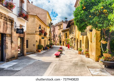 BARCELONA - AUGUST 11: The scenic architecture of Poble Espanyol (in english: spanish village), an open-air architectural museum on Montjuic hill in Barcelona, Catalonia, Spain, on August 11, 2017
