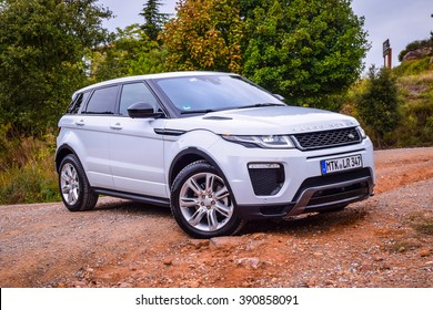 BARCELONA - AUGUST 15, 2015: Updated 2016 Range Rover Evoque at the test drive near Barcelona. Range Rover was careful to leave intact the chunky and charming aesthetics of its bestselling model.