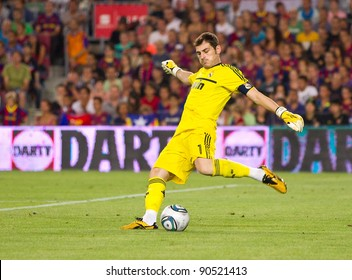 BARCELONA - AUGUST 17: Iker Casillas in action during the Spanish Super Cup  final match