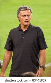 BARCELONA - AUGUST 17: Jose Mourinho, coach of Real Madrid, during the Spanish Supercup final match between FC Barcelona and Real Madrid, 3 - 2, on August 17, 2011 in Barcelona, Spain.
