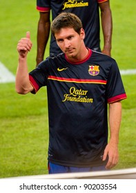 BARCELONA - AUGUST 17: Leo Messi before the Spanish Super Cup final match between FC Barcelona and Real Madrid, 3 - 2, on August 17, 2011 in Barcelona, Spain.
