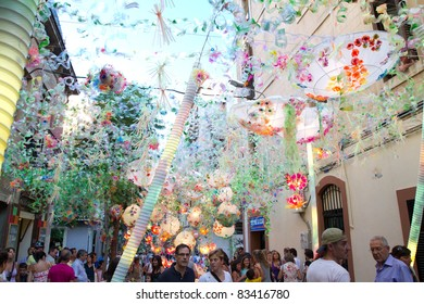 BARCELONA - AUGUST 17: Street decoration as part of the Gracia Festival 2011 (La Festa Major de Gracia 2011) on August 17, 2011 in Vila de Gracia, Barcelona, Spain