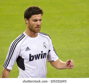 BARCELONA - AUGUST 17: Xabi Alonso of Madrid in action during the Spanish Supercup final match between FC Barcelona and Real Madrid, 3 - 2, on August 17, 2011 in Camp Nou stadium, Barcelona, Spain.