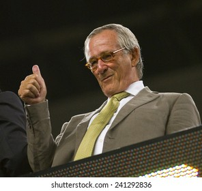 BARCELONA - AUGUST 17: Xavier Trias, mayor of Barcelona city, during the Spanish Super Cup final match between FC Barcelona and Real Madrid, 3 - 2, on August 17, 2011 in Camp Nou, Barcelona, Spain.
