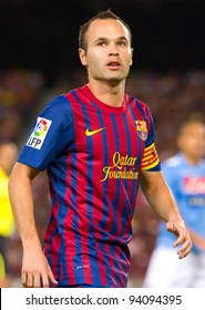 BARCELONA - AUGUST 22: Andres Iniesta in action during the Gamper Trophy final match between FC Barcelona and SSC Napoli, final score 5 - 0, on August 22, 2011 in Camp Nou stadium, Barcelona, Spain.