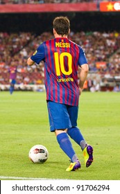 BARCELONA - AUGUST 22: Leo Messi (10) in action during the Gamper Trophy final match between FC Barcelona and Napoli, final score 5 - 0, on August 22, 2011 in Camp Nou stadium, Barcelona, Spain.