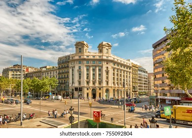 BARCELONA - AUGUST 9: Aerial view of Passeig de Gracia in the Eixample district of Barcelona, Catalonia, Spain, on August 9, 2017