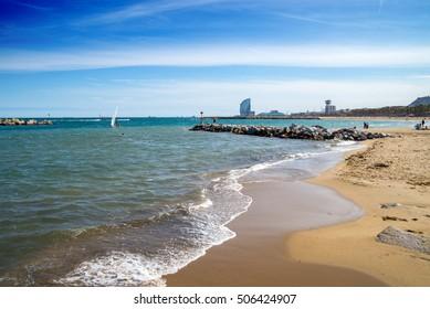 Barcelona Beach with blue sky on sunny day.
