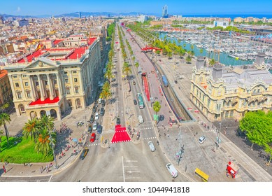 Barcelona- capital of the autonomy of Catalonia. Panorama from the monument to Christopher Columbus on the Barcelona. Spain.