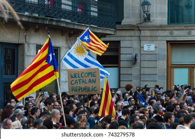 Barcelona, Catalonia, 27 October 2017. Celebration of Catalan Republic. Thousands of people rally at the street after the independent statement from spain-