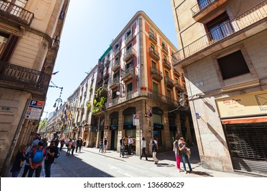 BARCELONA, CATALONIA  - APRIL 14: picturesque streets of Gothic district in April 14, 2013 in Barcelona, Catalonia. It is centre of old city, one of symbol of city