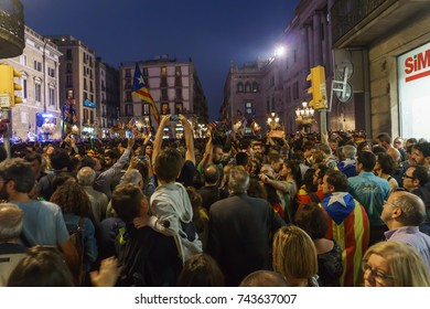 Barcelona, Catalonia, October 27, 2017: People celebrating during the night the declaration of independence of catalonia in Sant Jaume Place, in front of Palau de la Generalitat.
