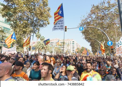 Barcelona, Catalonia, October 27, 2017: People on celebration during the proclamation of independence of Catalonia by Catalan government in front of parliament.
