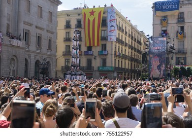 Barcelona, Catalonia, September 24, 2017: Castellers during La Merce party in Barcelona. In plaza Sant Jaume, in city hall.