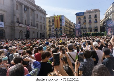 Barcelona, Catalonia, September 24, 2017:  People in an Castellers journey during celebration in Barcelona. claming for independence and justice