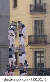 Barcelona, Catalonia, September 24, 2017: Castellers during La Merce celebration in Barcelona. In plaza Sant Jaume, in city hall.