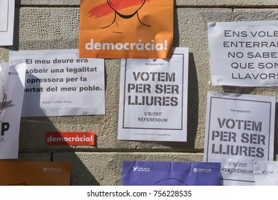 Barcelona, Catalonia, September 24, 2017: Banners on street claming justice and democracy for independence of Catalunya.