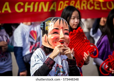 Barcelona, Catalonia, Spain. 04 st Feb, 2017. Participants children of the Chinese new year parade in Barcelona