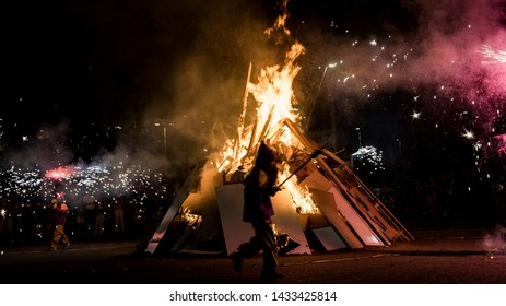 Barcelona, Catalonia / Spain - 06.23.2019: San Joan Night Celebration. Traditional summer fire night in Catalonia, Spain. Fireworks and fiesta.
