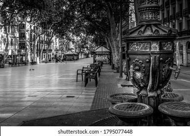 Barcelona, Catalonia / Spain - 07 23 2020: Streets of Barcelona. Les Rambles street. in black and white. fine art