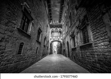 Barcelona, Catalonia / Spain - 07 23 2020: Streets of Barcelona. Bisbe street. in black and white. fine art