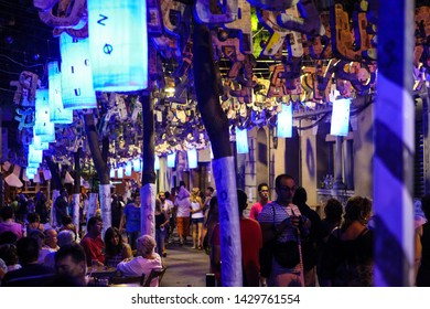 Barcelona, Catalonia / Spain - 08.16.2013: Fiesta De Gracia celebration. Holiday in the neighbourhood Gracia in Catalan capital in august. Streets decoration. Local traditions, attractions and food
