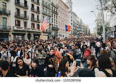 Barcelona, Catalonia, Spain - 18 October 2019: Riots of catalan people protesting for spanish government decision about referendum of independence of catalonia