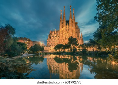 BARCELONA, CATALONIA, SPAIN - 23 MARCH, 2017: Basicila and Expiatory Church of the Holy Family, known as Sagrada Familia at sunset