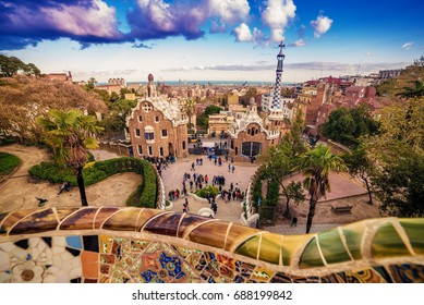 BARCELONA, CATALONIA, SPAIN - 25 MARCH, 2017:  thePark Guell of Antoni Gaudi at sunset