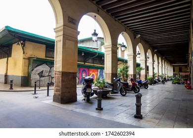 BARCELONA, CATALONIA, SPAIN - APRIL 29, 2016: Sant Andreu market square before starting the remodeling work and throwing it completely on the ground.
