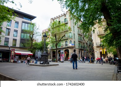 BARCELONA, CATALONIA, SPAIN - APRIL 29, 2016: Historical facade of the old center of the Sant Andreu neighborhood in Barcelona. At street level the legendary Versailles restaurant.