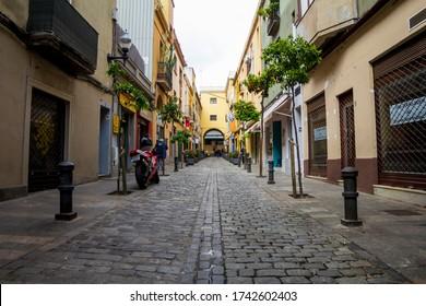 BARCELONA, CATALONIA, SPAIN - APRIL 29, 2016: Sant Andreu market street