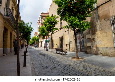 BARCELONA, CATALONIA, SPAIN - APRIL 29, 2016: Pons i Gallarza street in the center of the Sant Andreu neighborhood.